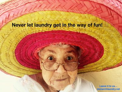 Lady in a hat - never let laundry get in the way of fun! Monarch Laundry